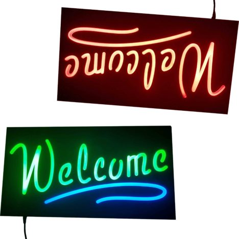 custom led neon open signs, rectangle led neon sign, welcome led neon signage