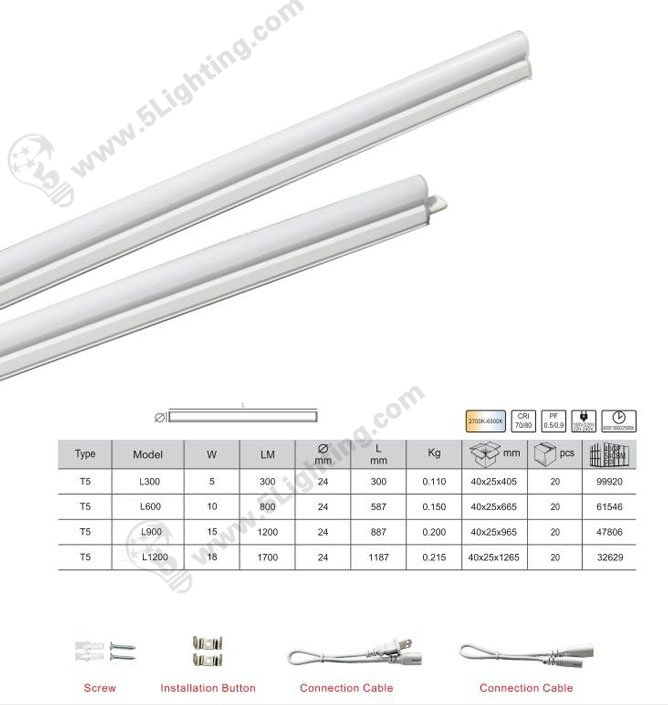 led t5 tube components