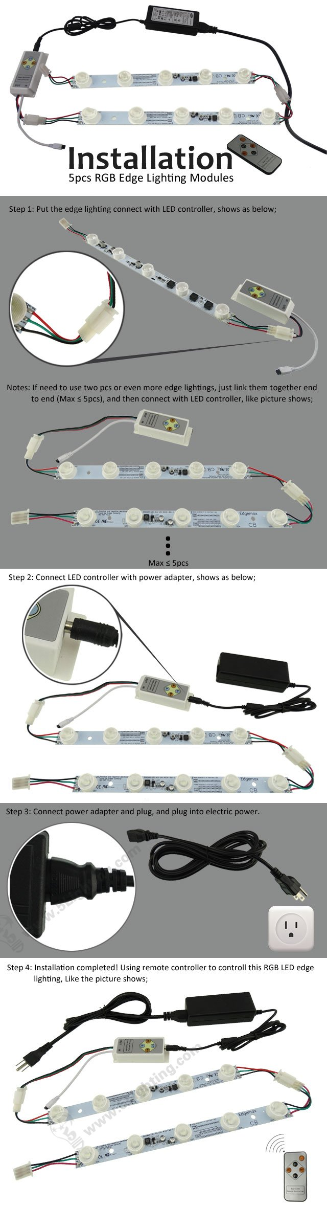 Cree RGB High Power LED Edge Modules - Connection - 5pcs