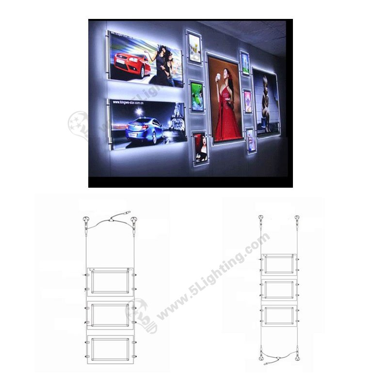 led crystal light boxes hanging types