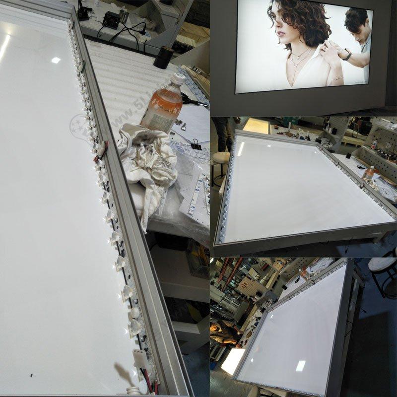 edge-lit fabric light box frame