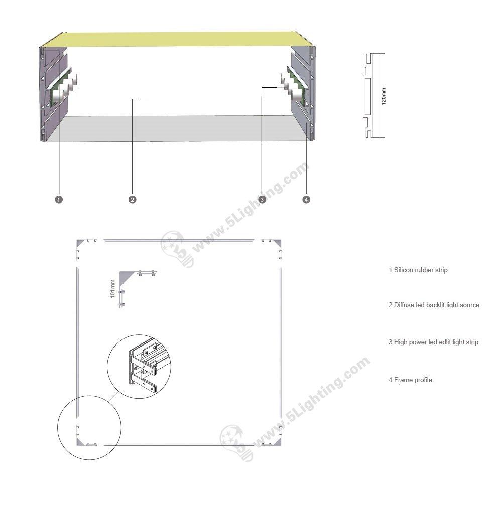 tension fabric light box display drawing