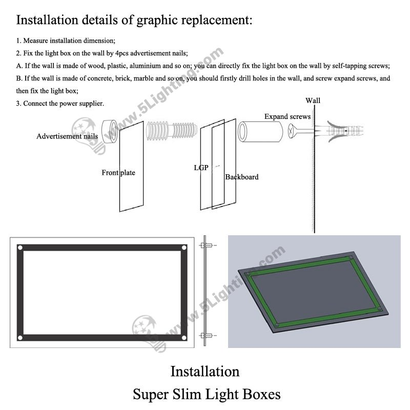 Super Slim Light Boxes Single Side Crystal Frame - Installation