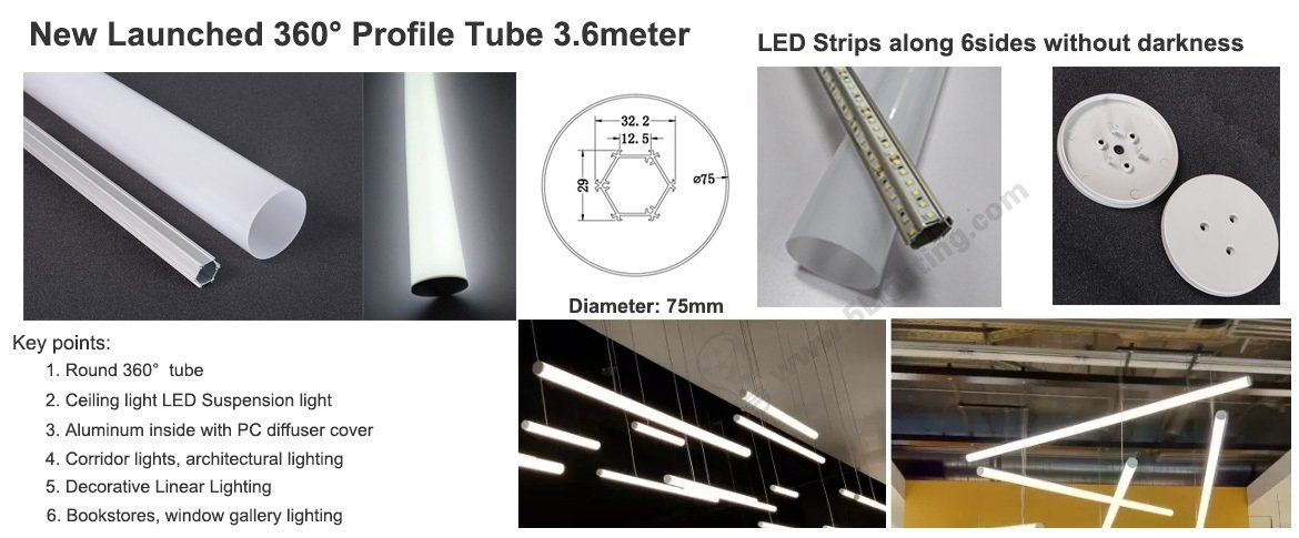 360° Tube Lights, 360 degree linear lights