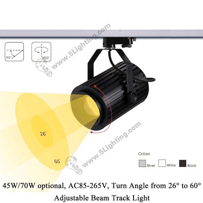 Movable Led Track Lighting: Adjustable Beam Track Light 5L-018K, Adjustable Led Track