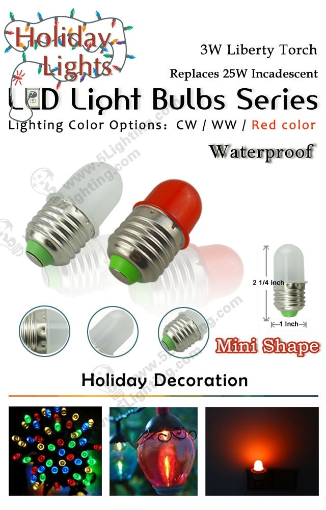 holiday decoration lighting 3W led light bulbs Liberty Torch