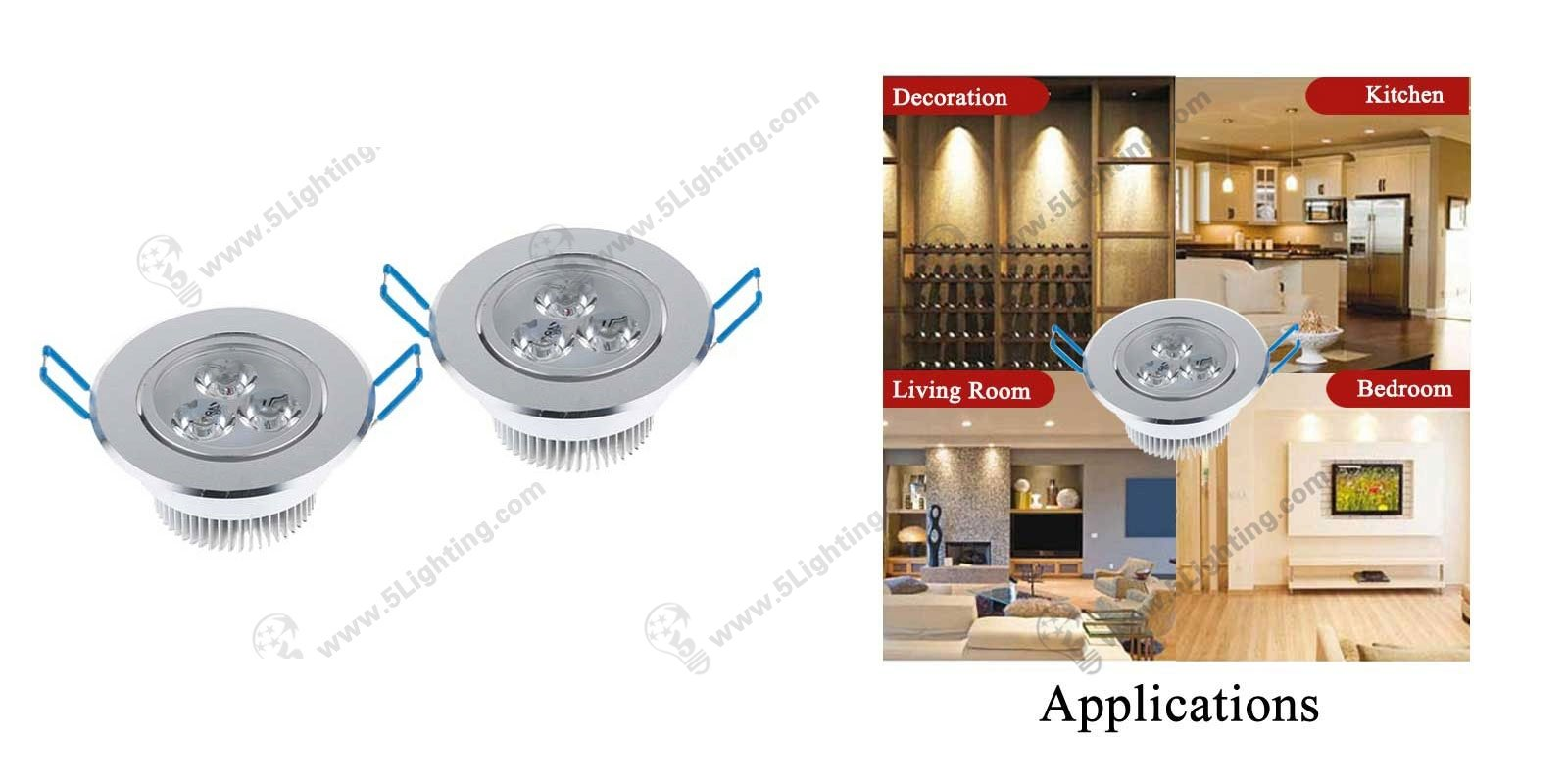 led recessed down lighting 9w