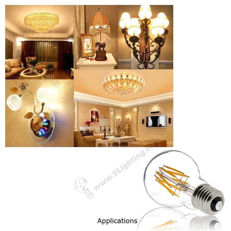Dimmable Filament LED Globe Bulbs 8W Applications