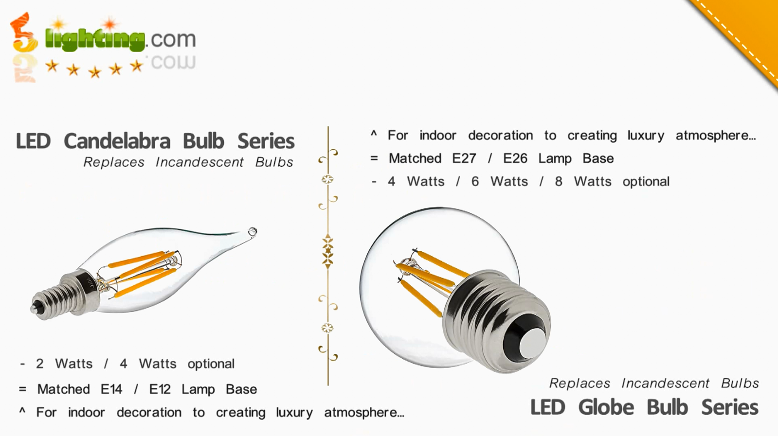 Dimmable LED Filament Light Bulbs