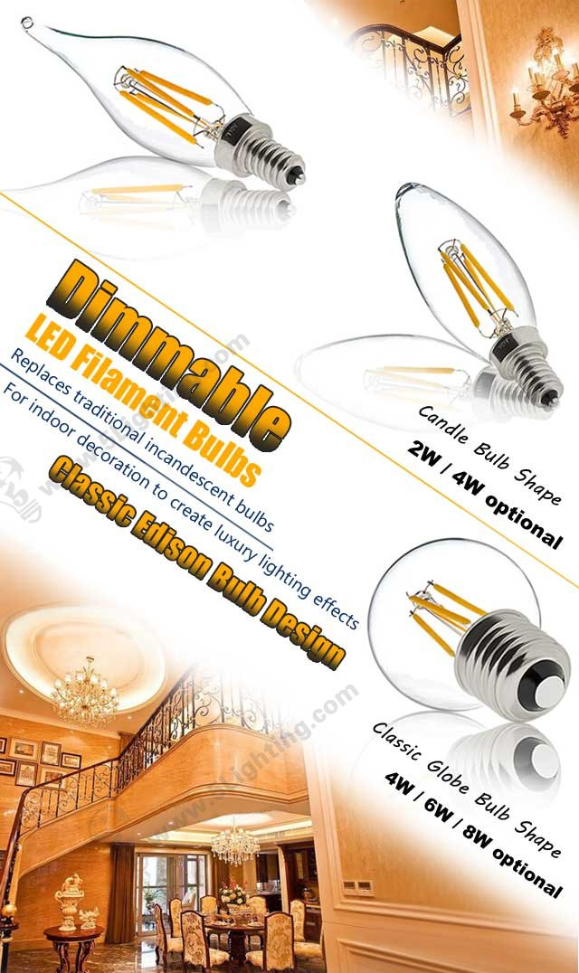 Dimmable LED Filament Light Bulbs