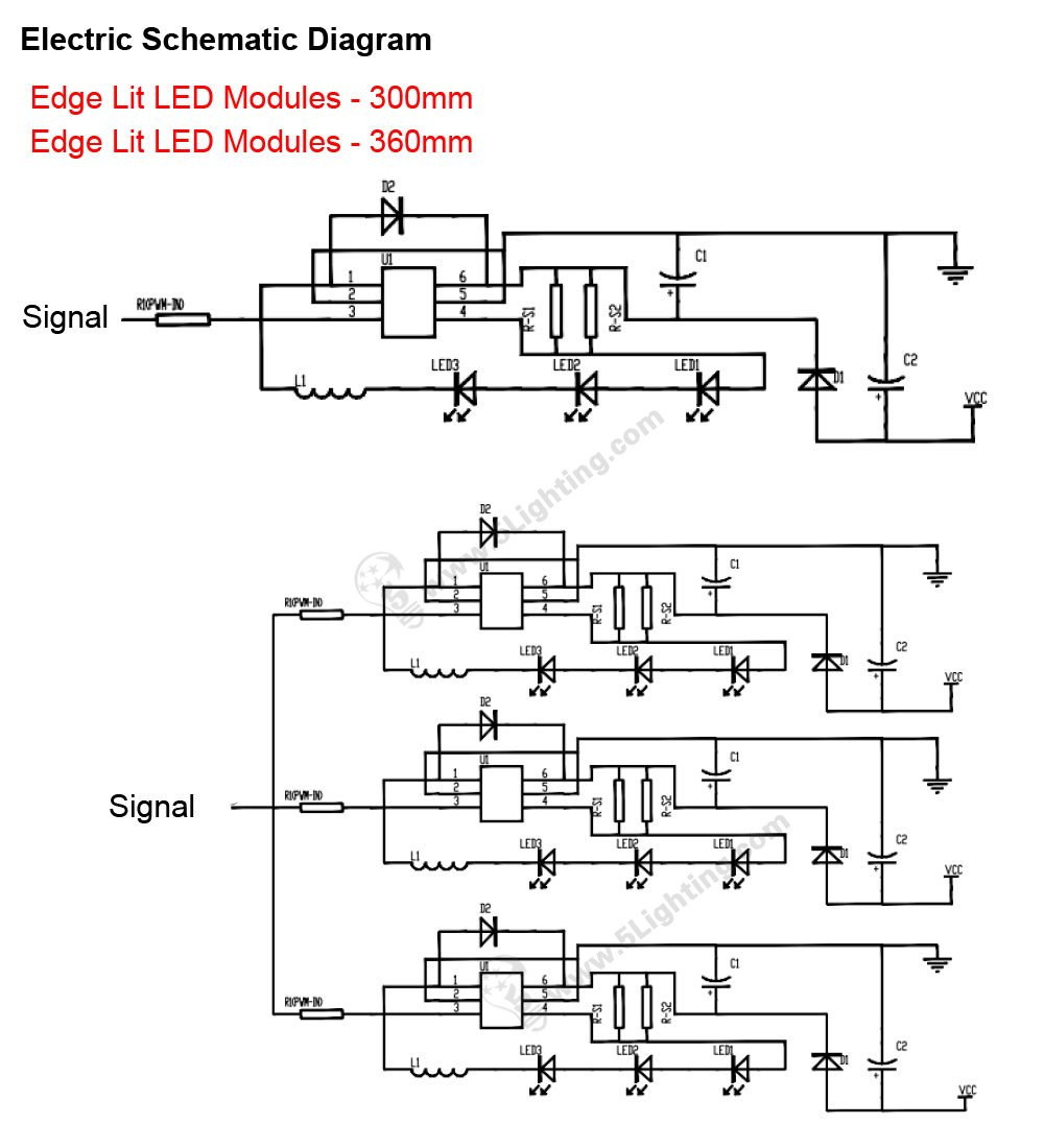 Edge Lit Led Modules 360mm High Power Light Boxes Lighting 5 Circuit Diagram Electric Schematic