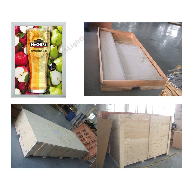 slim led light box display crate packing