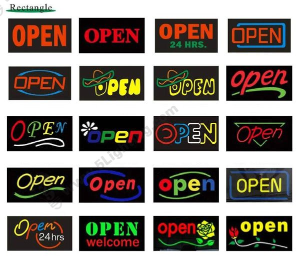 Customized led open signs patterns