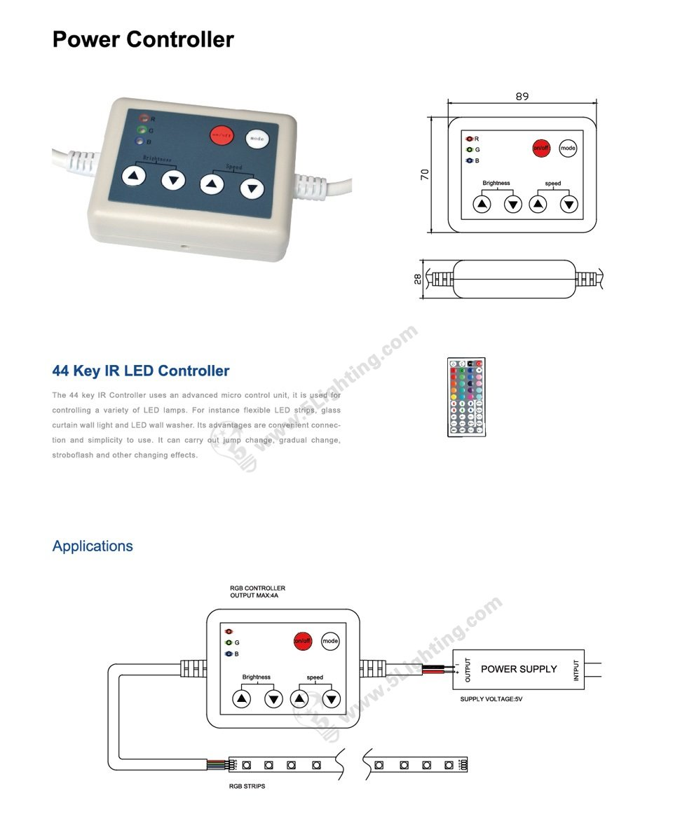 IR controller for light box RGB edge lights 44 keys