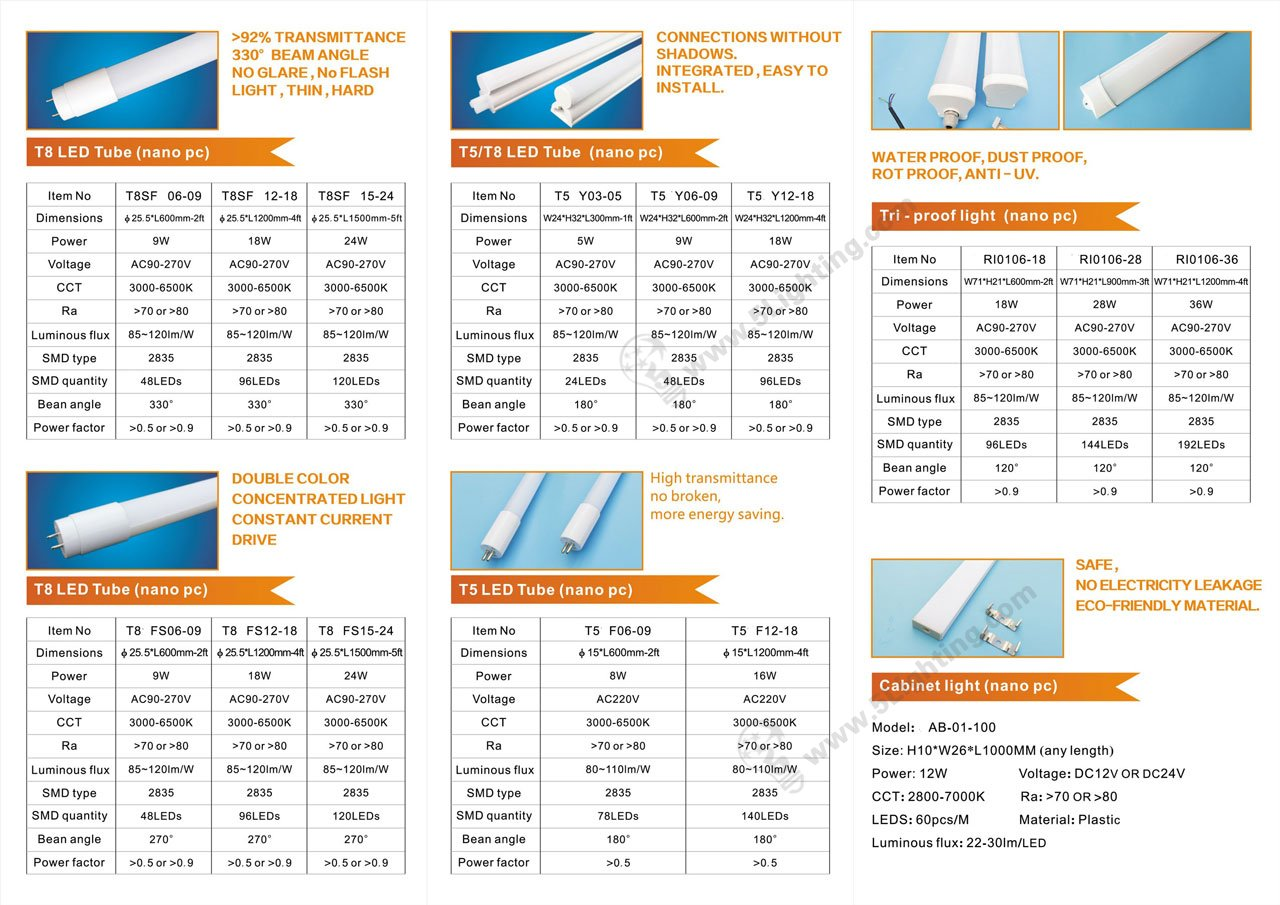 Nan LED Tube Lighting Series T5 / T8 / Waterproof