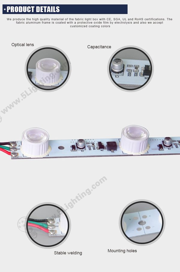 Colorful LED Edge-lit lighting system for light boxes, leds