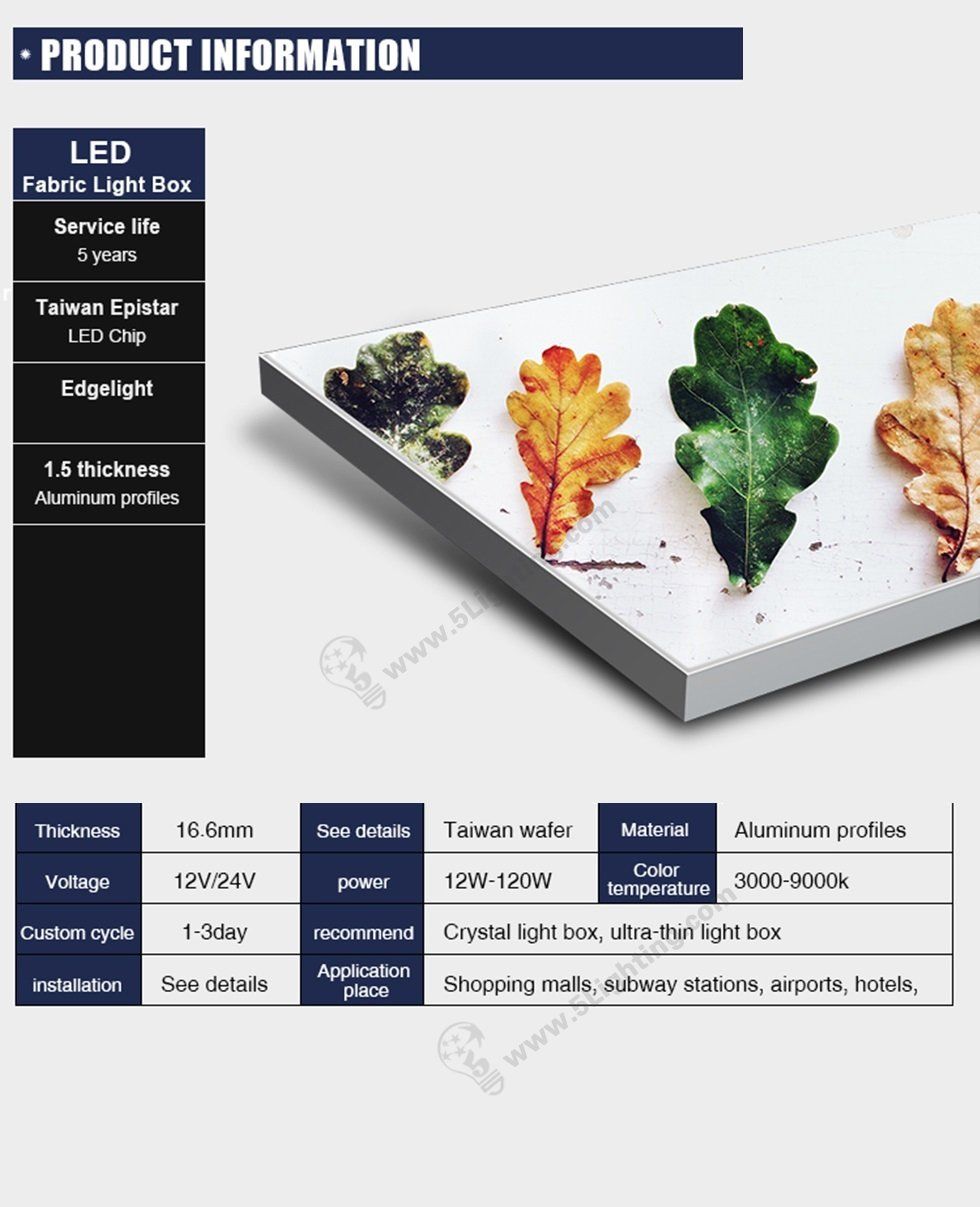 ultra slim fabric light box features