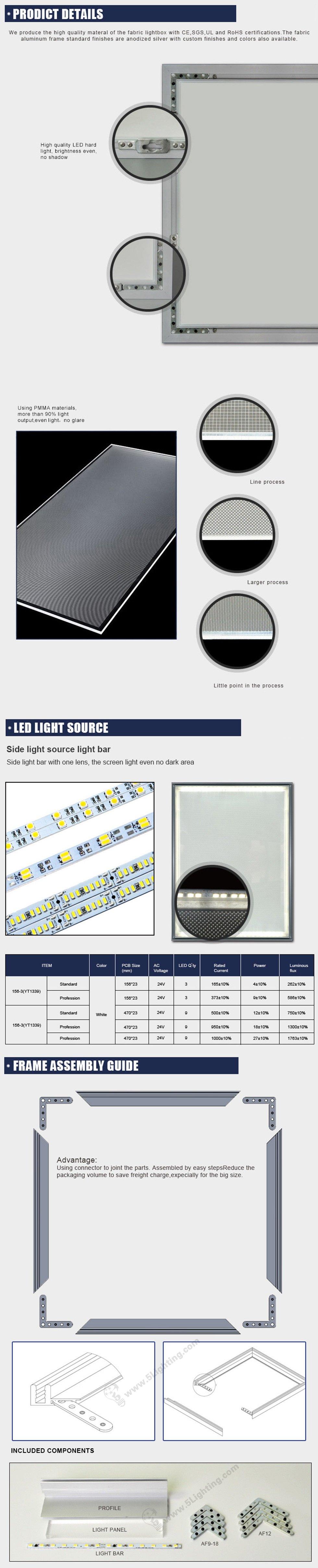 ultra slim fabric light box edge lit