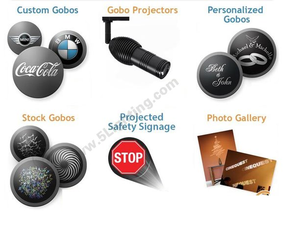 Gobo applications for logo projector