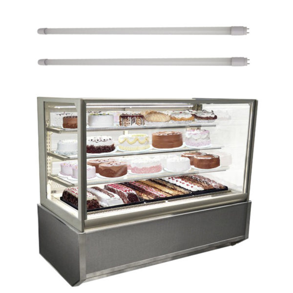 LED tube lights for refrigerated display case