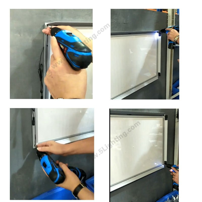 LED Light Box Horizontal Installation, Drilling